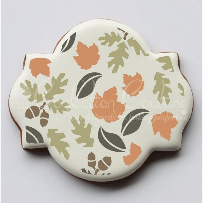 Fall Leaves Background Cookie Stencil