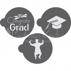 Graduation Round Cookie Stencil 3 Pc Set Oreo and Macaron