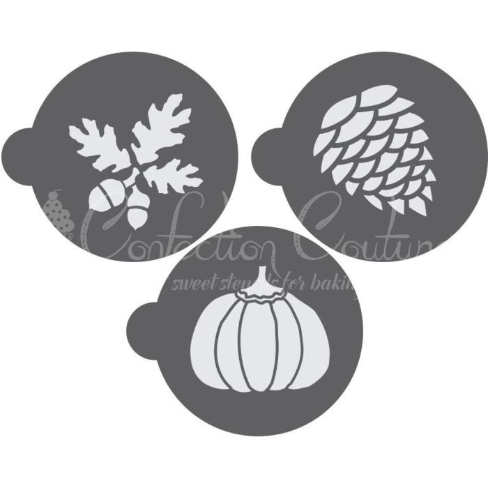 Autumn Round Cookie Stencil 3 Pc Set Oreo and Macaron