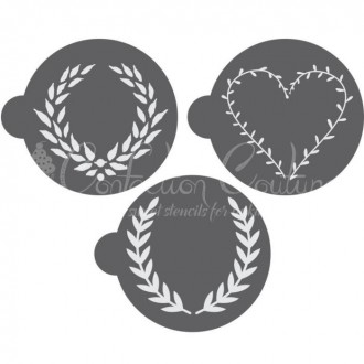 Laurel Wreath Round Cookie Stencil 3 Pc Set Oreo and Macaron