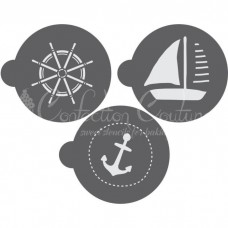Nautical Round Cookie Stencil 3 Pc Set (1 Inch) Oreo and Macaron