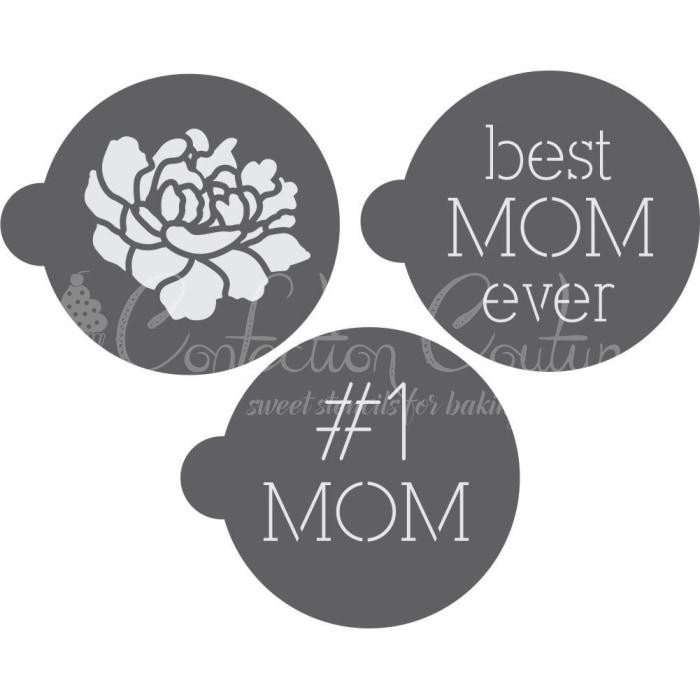 Mother's day Round Cookie Stencil 3 Pc Set Oreo and Macaron