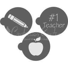 No 1 Teacher Round Cookie Stencil 3 Pc Set Oreo and Macaron
