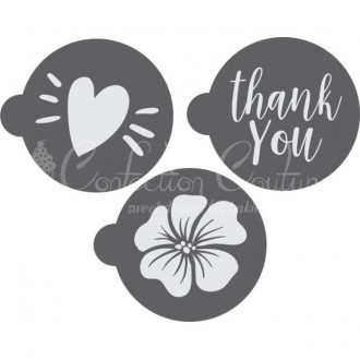 Thank You Round Cookie Stencil 3 Pc Set Oreo and Macaron