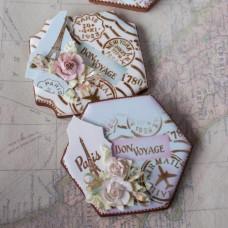 Vintage Bon Voyage Prettier Plaques Cookie Stencil 5 Pc Set