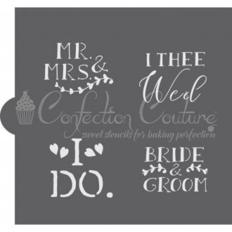 Wedding Bells Words Cookie Stencil (Bride & Groom)