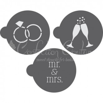 Wedding Round Cookie Stencil 3 Pc Set for Cookies and Macarons