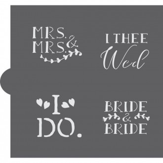Wedding Bells Words Cookie Stencil (Bride & Bride)
