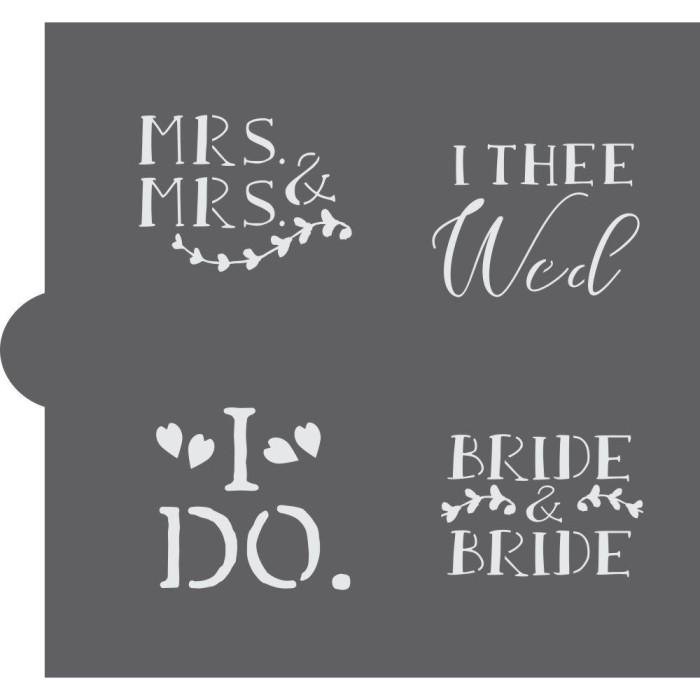 Wedding Bells Words Cookie Stencil (Bride & Bride)