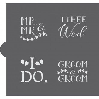 Wedding Bells Words Cookie Stencil (Groom & Groom)