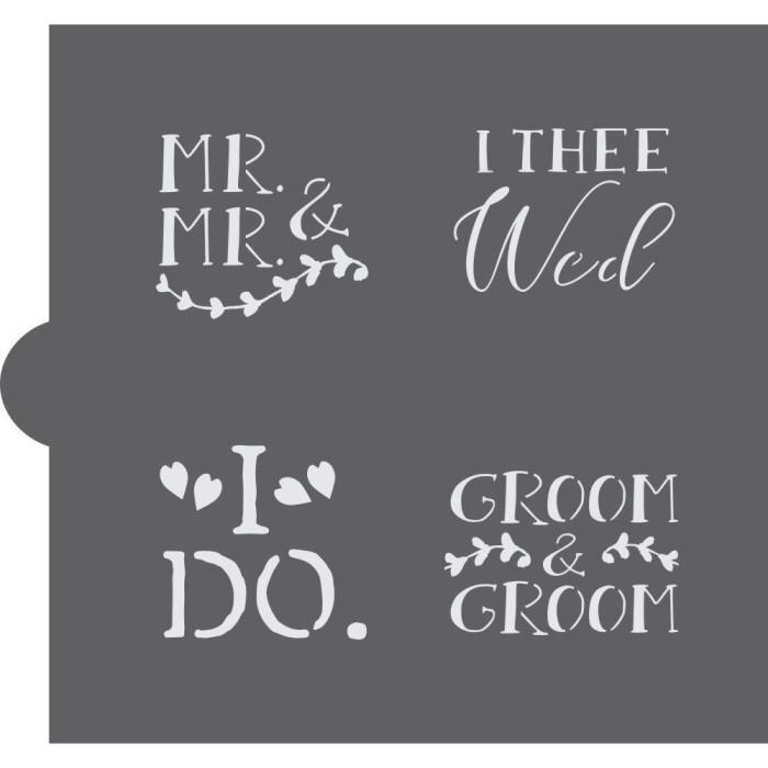 Wedding Bells Words Cookie Stencil (Groom & Groom)
