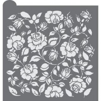 Rosebud Trellis  Prettier Plaques Background Cookie Stencil