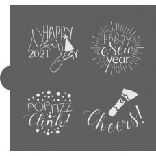 New Years Celebration Words Cookie Stencil