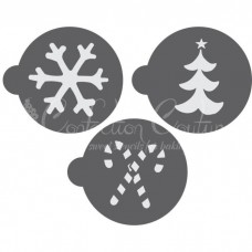 Christmas Round Cookie Stencil 3 Pc Set Oreo and Macaron