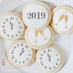 New Year's Eve Round Cookie Stencil 3 Pc Set Oreo and Macaron