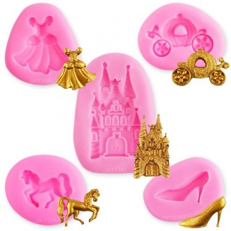 Princess Carriage, Slipper, Castle, Dress & Horse Silicone Mold