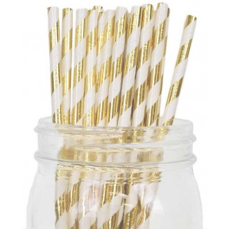 Paper Straws - Stripes Metallic Gold