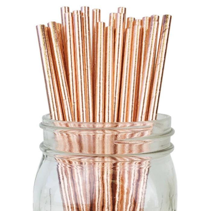 Paper Straws -  Metallic Rose Gold