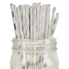 Paper Straws - Stripes Metallic Silver