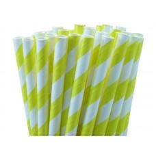 Paper Straws - Stripes Yellow