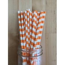 Paper Straws - Rugby Stripes Orange
