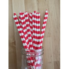 Paper Straws - Rugby Stripes Red