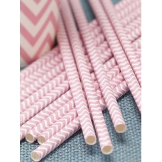 Paper Straws - Chevron Black