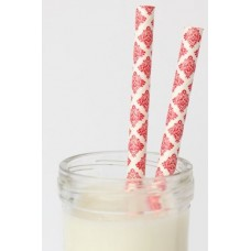 Paper Straws -  Damask Red