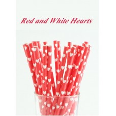 Paper Straws - Red and White Hearts