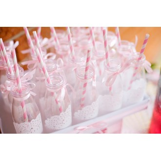 Paper Straws - Stripes Soft Pink