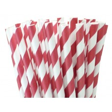 Paper Straws - Stripes Red