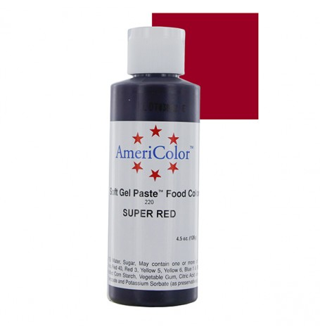 Red Super Red Gel Paste from Americolor 4.5 oz