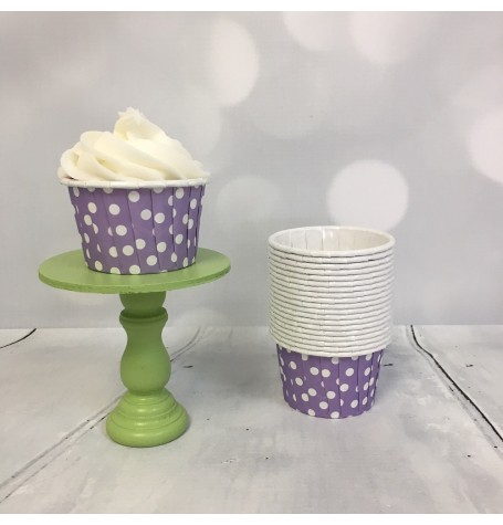 Mini Baking Cups - Lilac Polka Dot