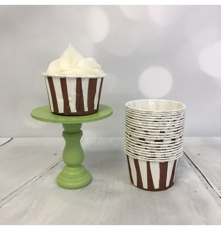 Mini Baking Cups - Brown Stripes