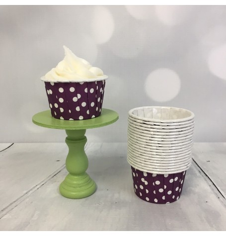 Mini Baking Cups - Mauve Polka Dot