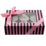 Cupcake Box - Luxury Satin Finish - Black And Pink Stripes Holds 6