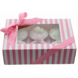 Cupcake Box - Luxury Satin Finish - White And Pink Stripes Holds 6