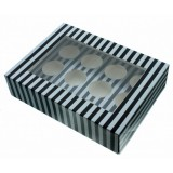 Cupcake Box - Luxury Satin Finish - Black And Silver Stripes Holds 12