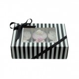 Cupcake Box - Luxury Satin Finish - Black And White Stripe Holds 6