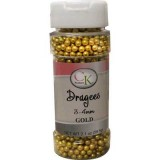 Sugar Pearls 3-4mm Gold Dragees