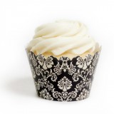 Classic Ivory Black and White Damask Cupcake Wrappers (12)