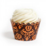 Classic Black and Orange Damask Cupcake Wrappers (12)