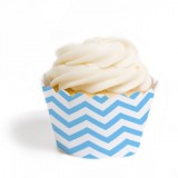 Blue Chevron Cupcake Wrappers (12)