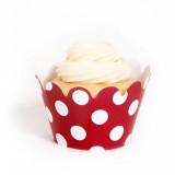 Red Polka Dots Mini Cupcake Wrappers (18 Wraps)