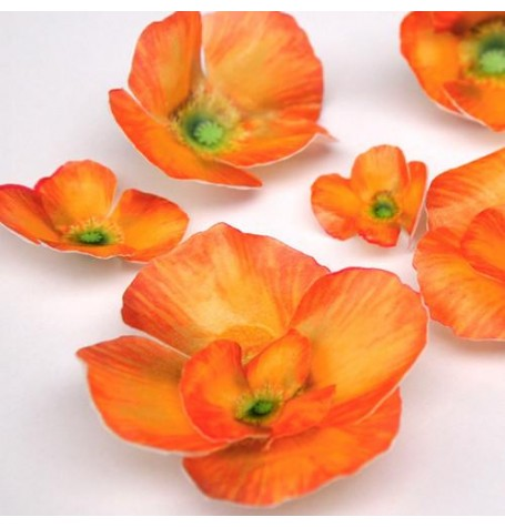 Wafer Paper Edible Precut Flowers Orange Poppy (20 Pieces)