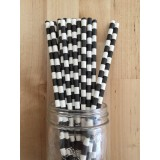 Paper Straws - Rugby Stripes Black