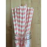 Paper Straws - Rugby Stripes Light Pink